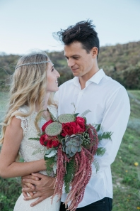 Soren and Matt Beach Wedding, Sunshine Coast. Ph: Brooke Elizabeth Photography Hair and makeup: Sunshine Brides by Valentina Pintus Dress: Daughter of Simone Head Piece: Lovisa Jelwery Flowers: That little Flower Shop